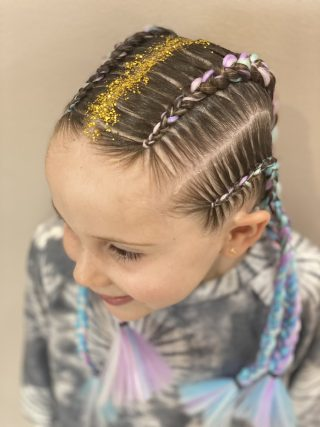 4 cornrows with extensions and glitter